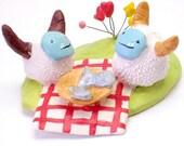 Yeti Picnic Date- Handmade Ceramic Diorama