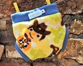 Fleece diaper soaker, size small, cowboy