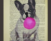 French bulldog with bubblegum  - ORIGINAL ARTWORK Hand Painted Mixed Media on 1920 Parisien Magazine 'La Petit Illustration' Coco De Paris
