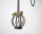 Vintage Style Antique Brass Birdcage Necklace