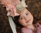 Gatsby Girl Mini Top Hat Fascinator Headband in Pink- Photography Prop, Celebrations or every day fun