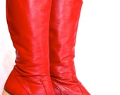 Red Leather Handmade Boots