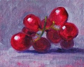 Still Life Painting, Small, Fruit Painting, Oil, Canvas, 4x6, Red, Grapes, Original, Kitchen Decor, Purple, Kitchen Art, Wall Decor