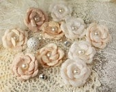 Audrey Rose Collection - Tan Fabric Flowers Pearl Center