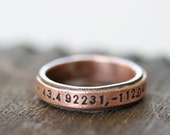 2  Latitude Longitude copper thin band rings rustic commemorate - reserved  for CircumstanceArt