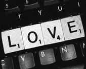 Black & White Scrabble Love on Computer Keyboard - 8x8 fine art print