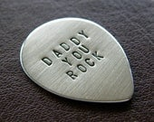 Custom Mini Guitar Pick - Personalized Sterling Silver Hand Stamped Pick - Perfect Gift for Father's Day