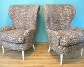 Pair Vintage Leopard FAUX BAMBOO Exaggerated WINGBACK Chairs
