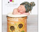 Newborn Beanie Hat with Button Photography Prop FREE SHIPPING