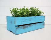 Shabby Upcycled Planter Box in Turquoise by speckleddog on Etsy