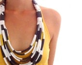 Upcycled T Shirt Necklace Lemon Grey