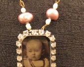 tin type vintage picture rhinestone necklace womens jewelry free shipping