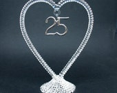 25th Twenty-Fifth Anniversary Glass Wedding Cake Topper