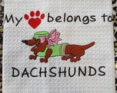 Waffle Weave Tea Towel - My heart belongs to Dachshunds.
