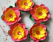 Pink Lemonade Mini-Paper Flowers (set of 5)