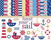 Nautical clipart and digital papers set personal or commercial use Hoist Your Sail (DK002)