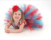 "Girls Tutu Skirt - Birthday Tutu - Red Blue - Suess Sweetheart - Custom Sewn Tutu - Up to 12"" long - sizes Newborn to 5T - Photo Prop Tutu - TiarasTutus"