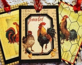 CO-225-French Farmyard Roosters  Shabby Set of 6  Different Images