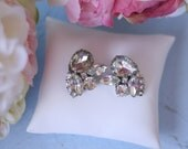 Antique Clear Rhinestone Earrings Diamond Inspired Something Old