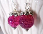 Magenta Fuchsia Crackle Quartz Earrings in Bali Silver