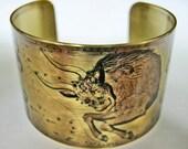 Taurus Zodiac Horoscope cuff bracelet brass Free Worldwide Shipping