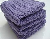 3 Purple Cotton Washcloths