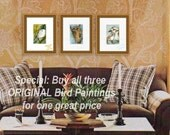 "Bird Art, wildlife watercolor painting Set of THREE ORIGINALS with FREE 8x10"" white mat"