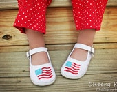 Shoe of the month - June - Red white & blue flag hand painted maryjane shoes for girls - infants - toddlers