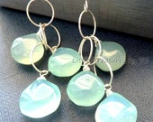 Large aqua Chalcedony dangle earrings on twisted ring chain in sterling silver OR 14k gold filled per request