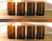root beer bottle recycled glass tumblers, set of 8