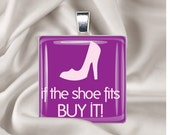 """Glass tile necklace..If the shoe fits buy it"""" with FREE lace cord necklace"""