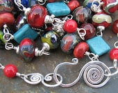 Liberty artisan lampwork wirewrapped with turquoise and sterling silver long necklace