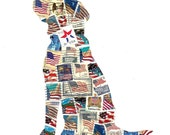 Patriotic Dog United States Flag Postage Stamp Collage