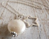 Moon and Star - Sterling Silver Star and Coin Pearl Cluster Necklace