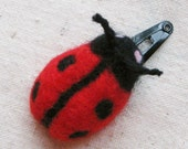 LADYBUG HAIR CLIP, needle felted in bright red and black from pure wool