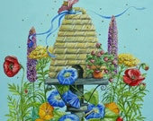 Original Painting Bee Skep and Flowers