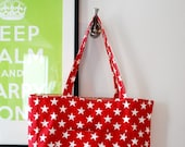 Large Red Canvas Star Shopper