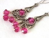Earrings Pink Crystals Vintage Inspired Filigree  Antiqued Silver