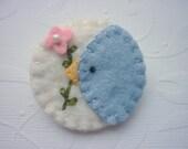 Wool Felt Bluebird Penny Rug Pin Brooch