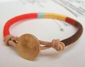 COOPER bracelet - textile, leather, button closure (chocolate rust goldenrod seafoam persimmon), handmade jewelry
