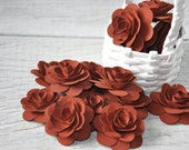 Wood Roses - Birch Wood Shavings Crafted Flowers - Rust Brown - by AccentsandPetals on ETsy