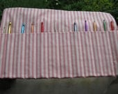 Crochet Hook Organizer/ Holder - Holds 12 Needles - Pink and White Striped