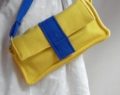 Neon Bag Bright Yellow and Blue Casual Fleece Clutch - olganna