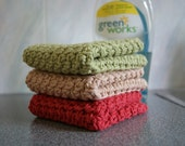 3 Crochet Cotton Dishcloths