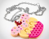 Adorable Cupcake Bear with Swarovski Crystal Sprinkles Laser Cut Layered Acrylic Pendant/Necklace
