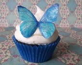 Edible Butterflies - 12 GLITTER BLUE large - wafer paper butterflies