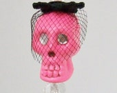 Neon Pink Skull Stick Pin With Birdcage Veil 'One-Eyed Ofelia'