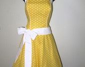 Sunshine Yellow Polka Dot Rockabilly Dress - RavenBombshell