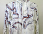1970s Cream Blouse with Squiggle Pattern
