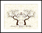 Wedding Signature Fingerprint Guest Book Tree Poster Print 17 x 22  Xlarge up to 300 thumb prints